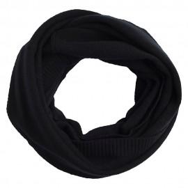 Sort strikket halsvarmer i ren cashmere
