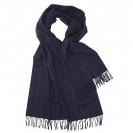 Stort mørkeblåt halstørklæde med tynde striber