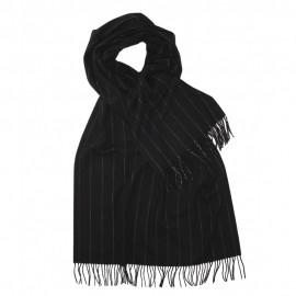 Stort sort halstørklæde med tynde hvide striber