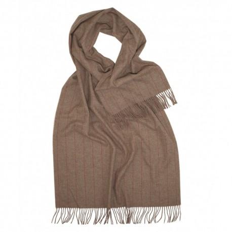 Stort beige halstørklæde med tynde striber