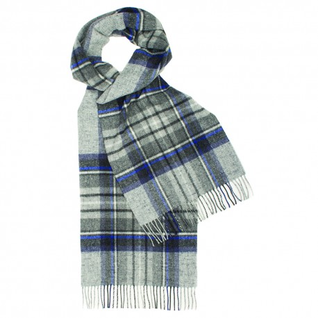 Gråt skotskternet halstørklæde med blåt og hvidt