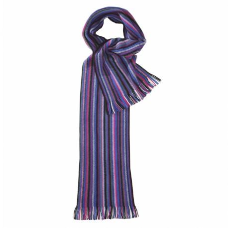 Stribet tørklæde i blå og violette farver