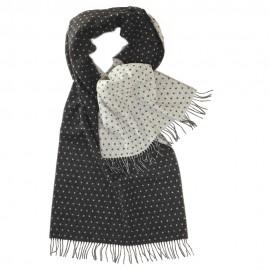 Tosidet tørklæde med prikker i grå og hvid