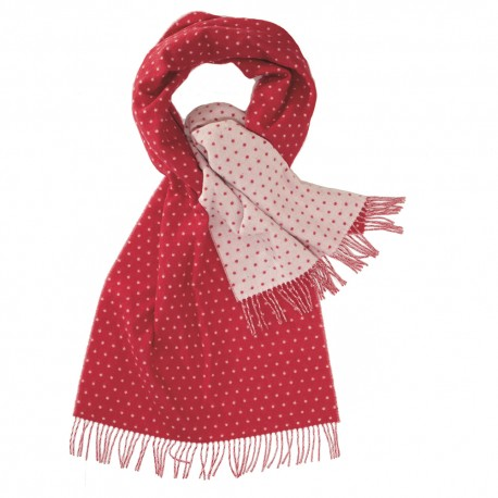 Tosidet tørklæde med prikker i rød og hvid