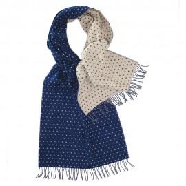 Tosidet tørklæde med prikker i blå og hvid