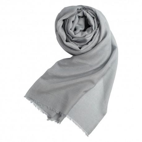 Lysegråt pashminasjal i cashmere og silke