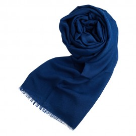 Mørkeblåt pashminasjal i cashmere og silke