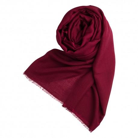 Bordeauxrødt pashminasjal i cashmere og silke