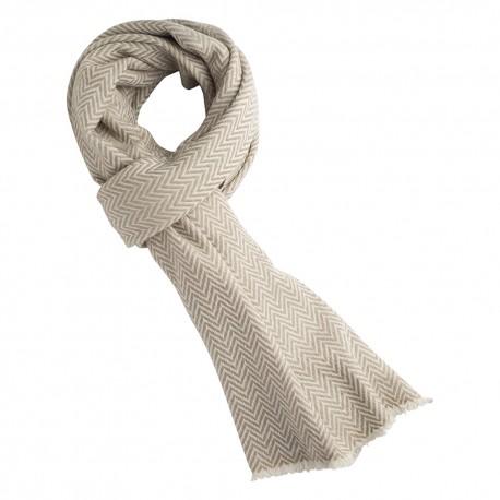 Sildebensmønstret halstørklæde i cashmere/uld