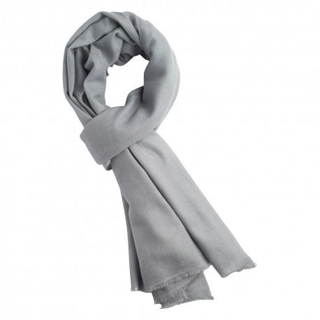 Lysegråt twill vævet pashmina tørklæde
