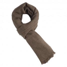 Naturfarvet gråbrunt halstørklæde i ren yak uld