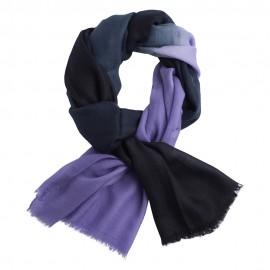 Tofarvet pashmina tørklæde i navy og lavendel