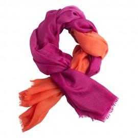 Tofarvet pashmina tørklæde i fuchsia og koralrød