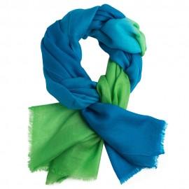 Tofarvet pashmina tørklæde i petroleumsblå/grøn