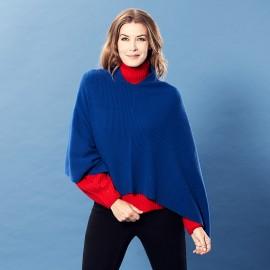 Mørkeblå poncho i strikket cashmere