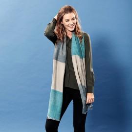 Ternet silke/cashmere sjal i blå og grå farver