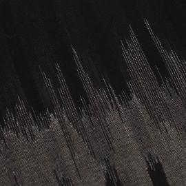 Ikat vævet tørklæde i sort/grå cashmere og uld