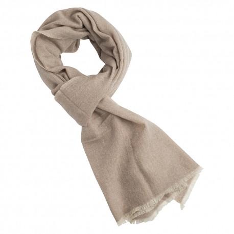Cashmere tørklæde i beige/råhvid melange
