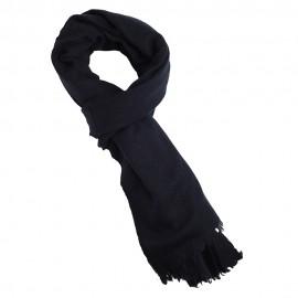 Sortblåt halstørklæde i ren yak uld