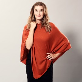 Orange poncho i let silke/cashmere blanding