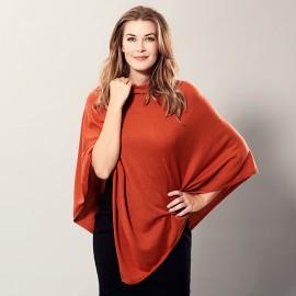 Orange poncho i let silke/cashmere blanding