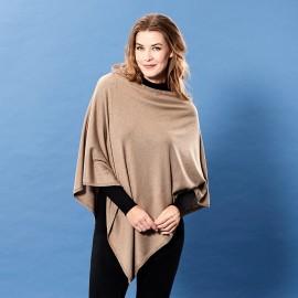 Beige poncho i let silke/cashmere blanding