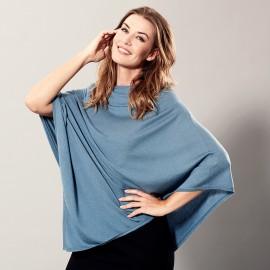 Blå poncho i let silke/cashmere blanding