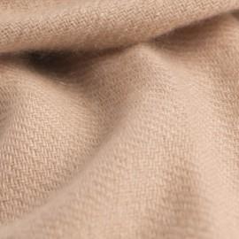 Sandfarvet cashmere tørklæde i twill vævning