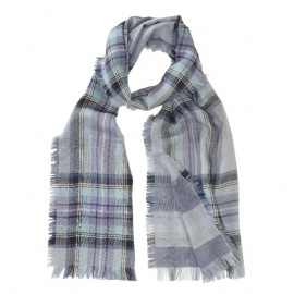 Let tørklæde i merinould i blå nuancer