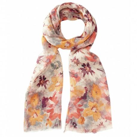 Blomstret tørklæde i varme farver