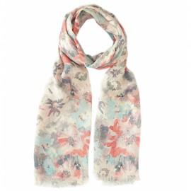 Blomstret tørklæde i pastelfarver