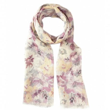 Blomstret tørklæde i sarte farver