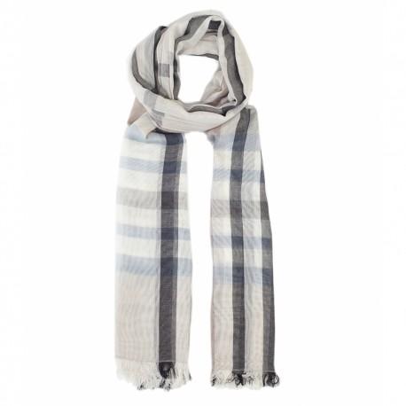 Bomuldstørklæde i hvid og grå