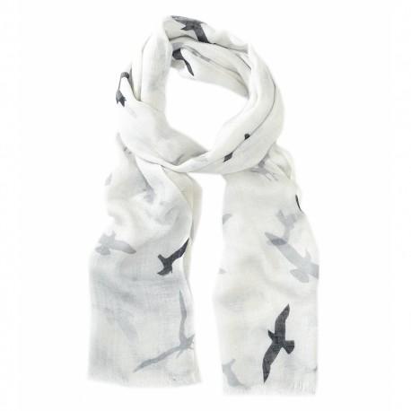 Hvidt tørklæde med fugleprint