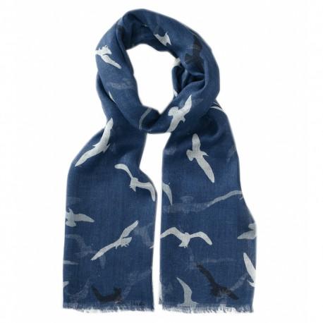 Blåt tørklæde med fugleprint