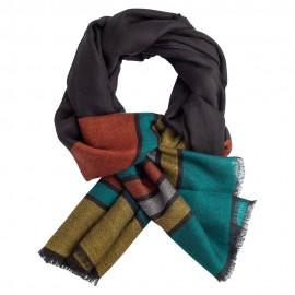Sort pashmina sjal med striber