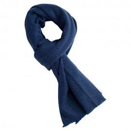 Blåt halstørklæde i sildebensmønstret cashmere/uld