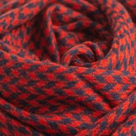 Cashmere sjal i rød og navy hanefjed