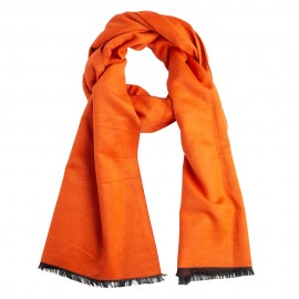 Orange silkesjal i børstet silke