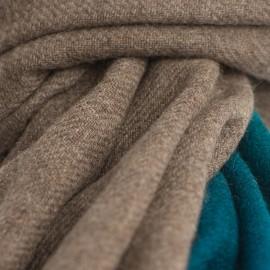 Tofarvet yaktørklæde i naturbrun/petrolblå