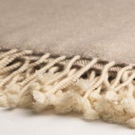 Cashmere plaid i hvid / beige melange