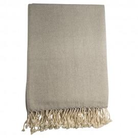 Cashmere plaid i hvid / grå melange