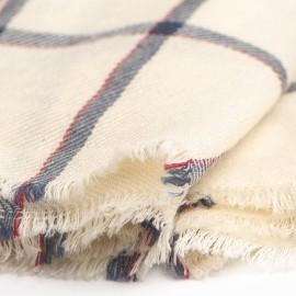 Råhvidt halstørklæde med tern i blå og rød