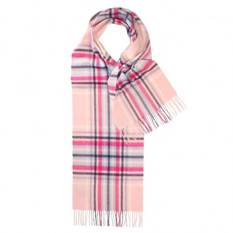 Lyserødt skotskternet halstørklæde