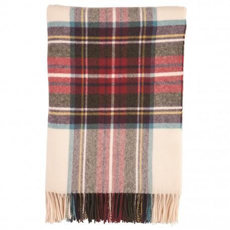 Skotskternet oversize tørklæde i råhvid