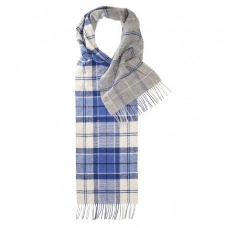 Dobbeltsidet ternet tørklæde i blå, hvid og grå