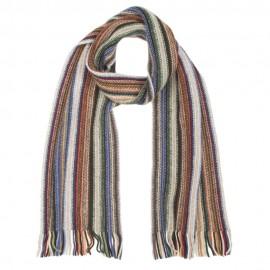 Stribet tørklæde i kølige jordfarver