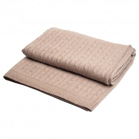 Beige kabelstrikket cashmere tæppe
