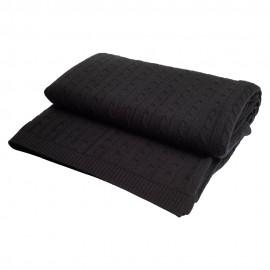 Sort kabelstrikket cashmere tæppe