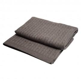 Mørkegråt kabelstrikket cashmere tæppe